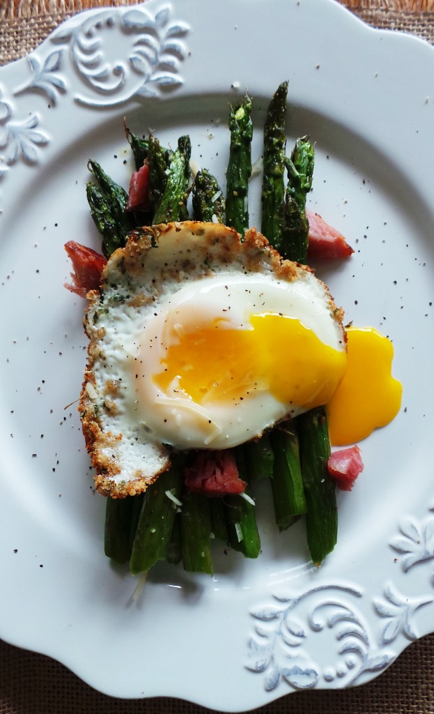 Roasted Breakfast Asparagus with Breadcrumb Fried Egg
