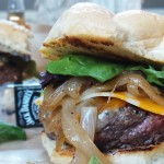 Bison Burgers with Drunken Onions