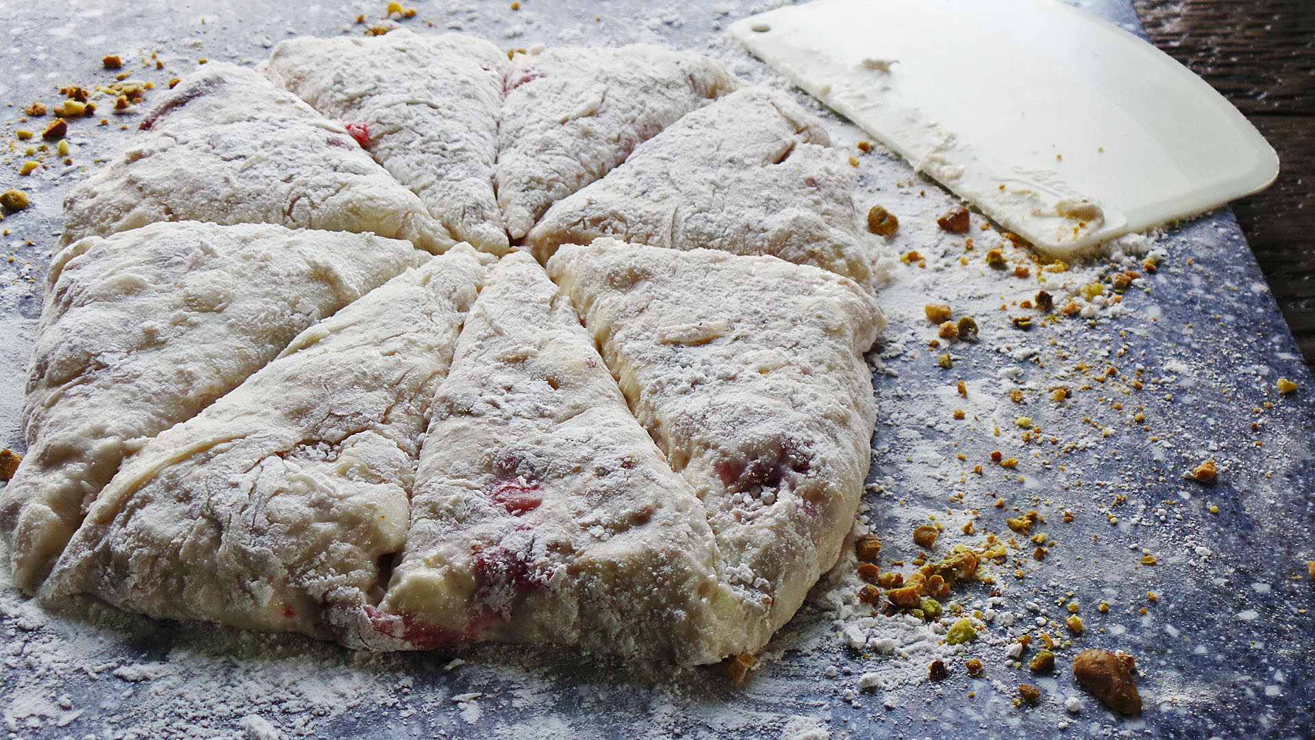 Roasted Strawberry Pistachio Scones