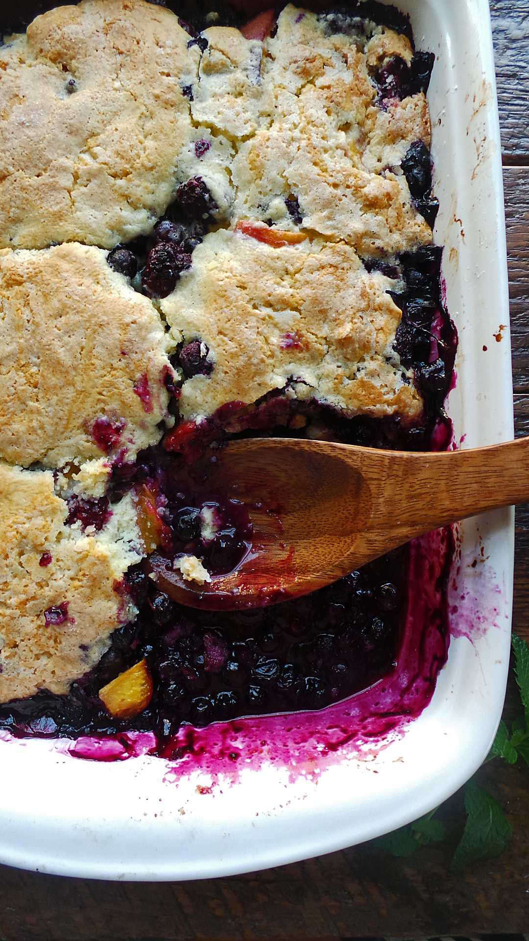 Blueberry and Peach Cobbler