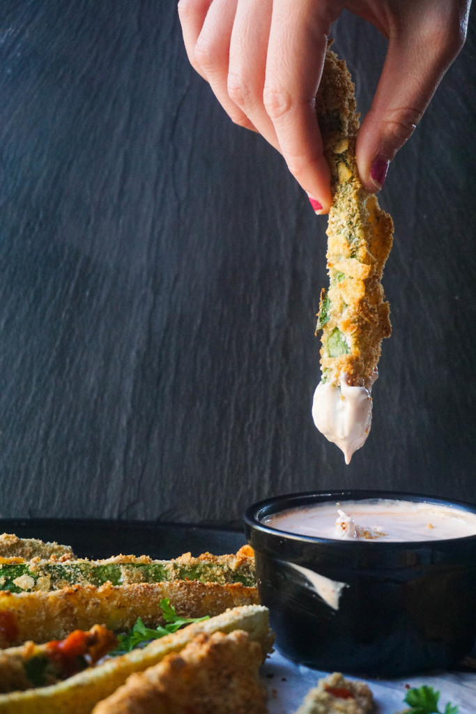 Crab Chip Crusted Zucchini Fries