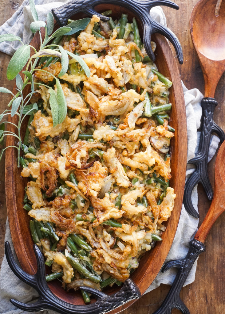 Green Bean Casserole with Tempura Onion Strings