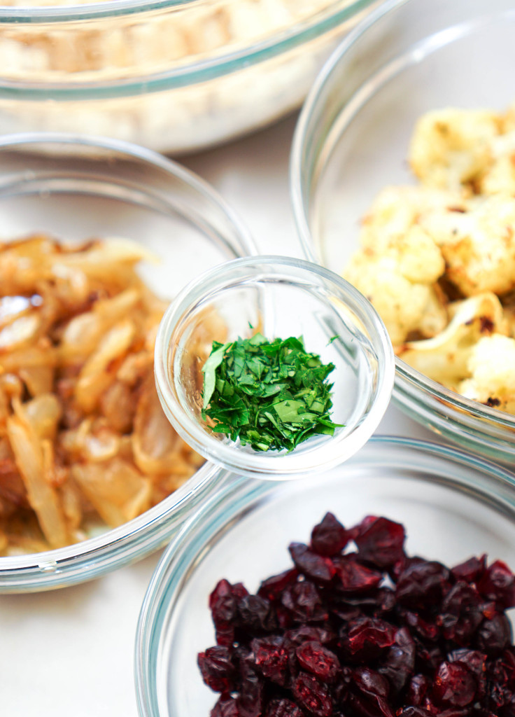 Israeli Couscous with Roasted Cauliflower, Cranberries, & Caramelized Onions