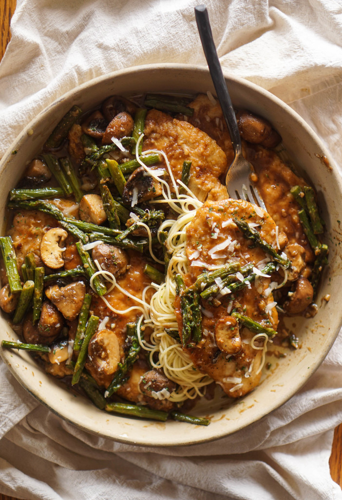 Chicken Marsala with Mushrooms & Asparagus