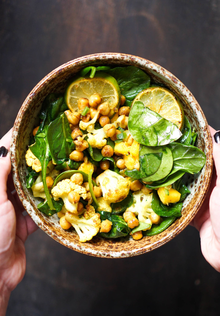Vegan Spiced Chickpea & Cauliflower Spinach Salad