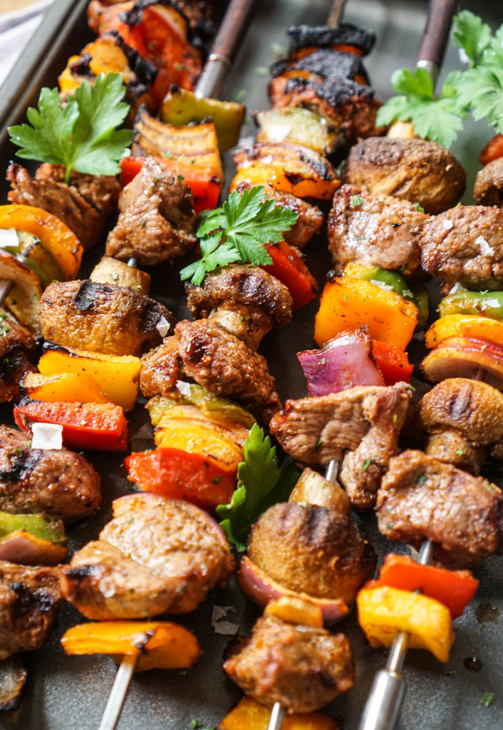 Marinated Grilled Lamb Steak Shish Kabobs on homemade steak sauce