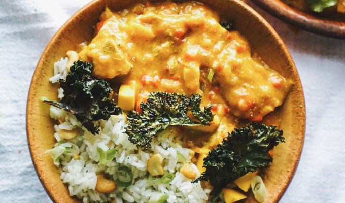 Mango Curry Chicken & Rice with Crunchy Curry Kale Chips