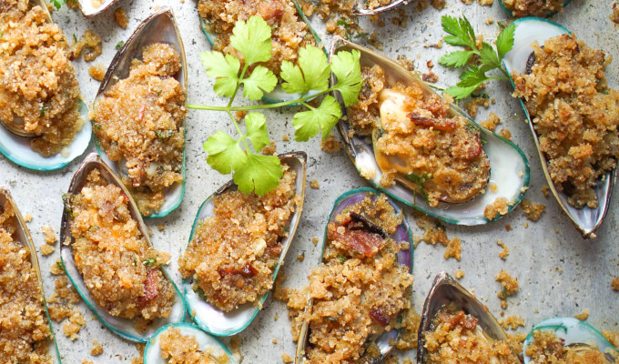 Mussels Casino with Bacon & Parmesan