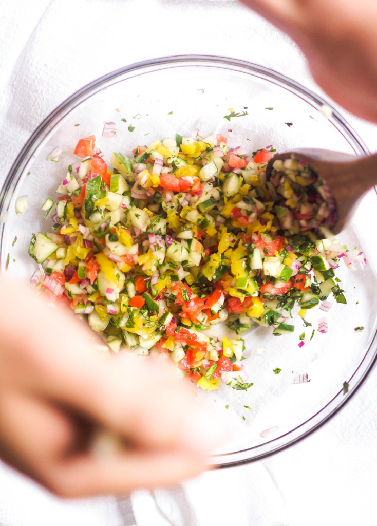 Tabbouleh Inspired Quinoa with Shrimp