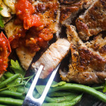 Reverse Sear Pork-Chop with Cumin-Lime Tomato Sauce