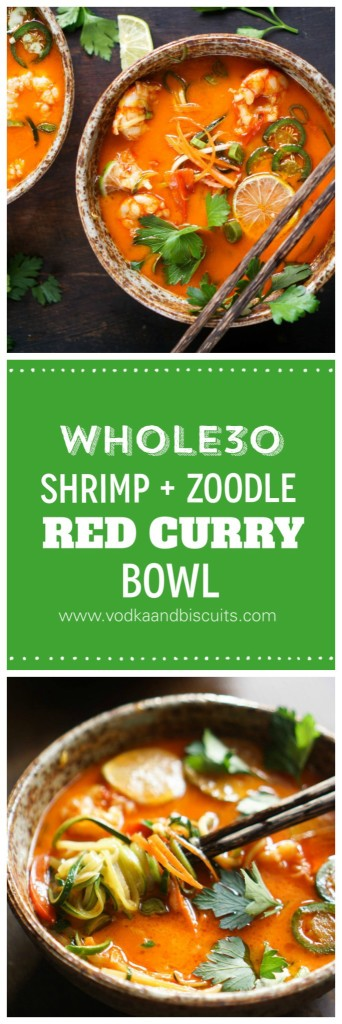 Shrimp + Zoodle Red Curry Bowl (Whole30)