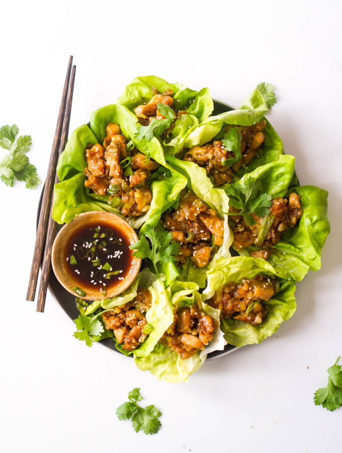 Paleo Chicken & Scallion Lettuce Wraps