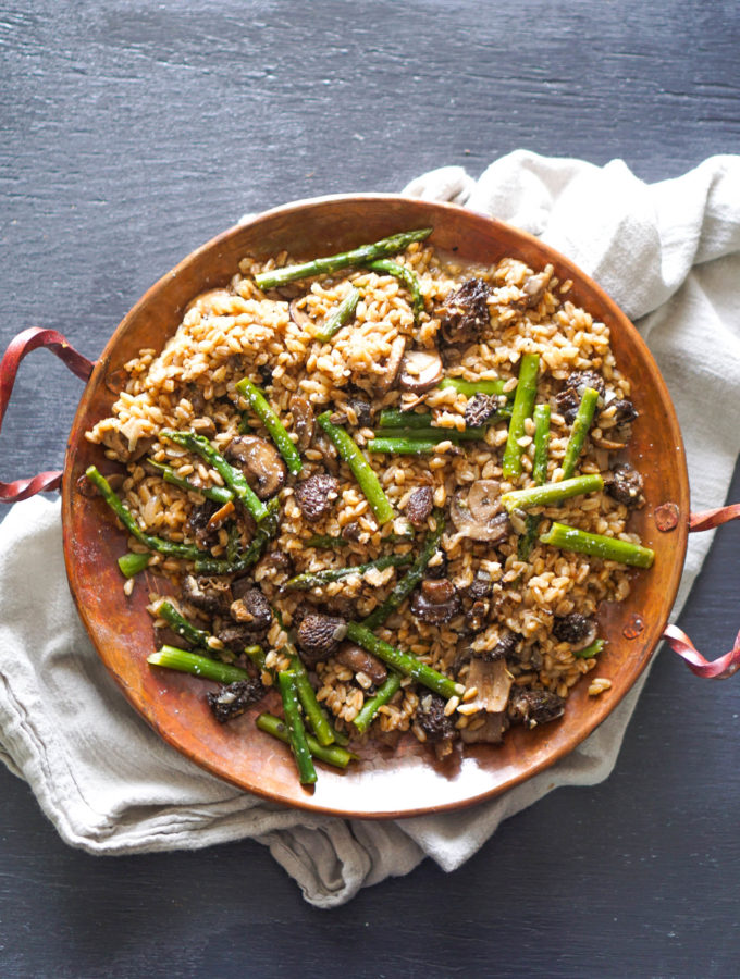 Farro Risotto with Morel Mushrooms & Asparagus
