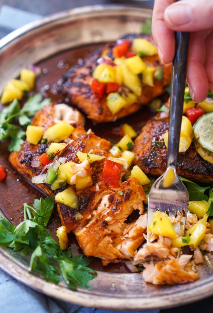 Blackened Salmon With Mango Salsa